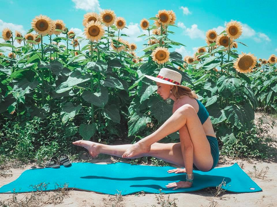 yoga, sunflowers