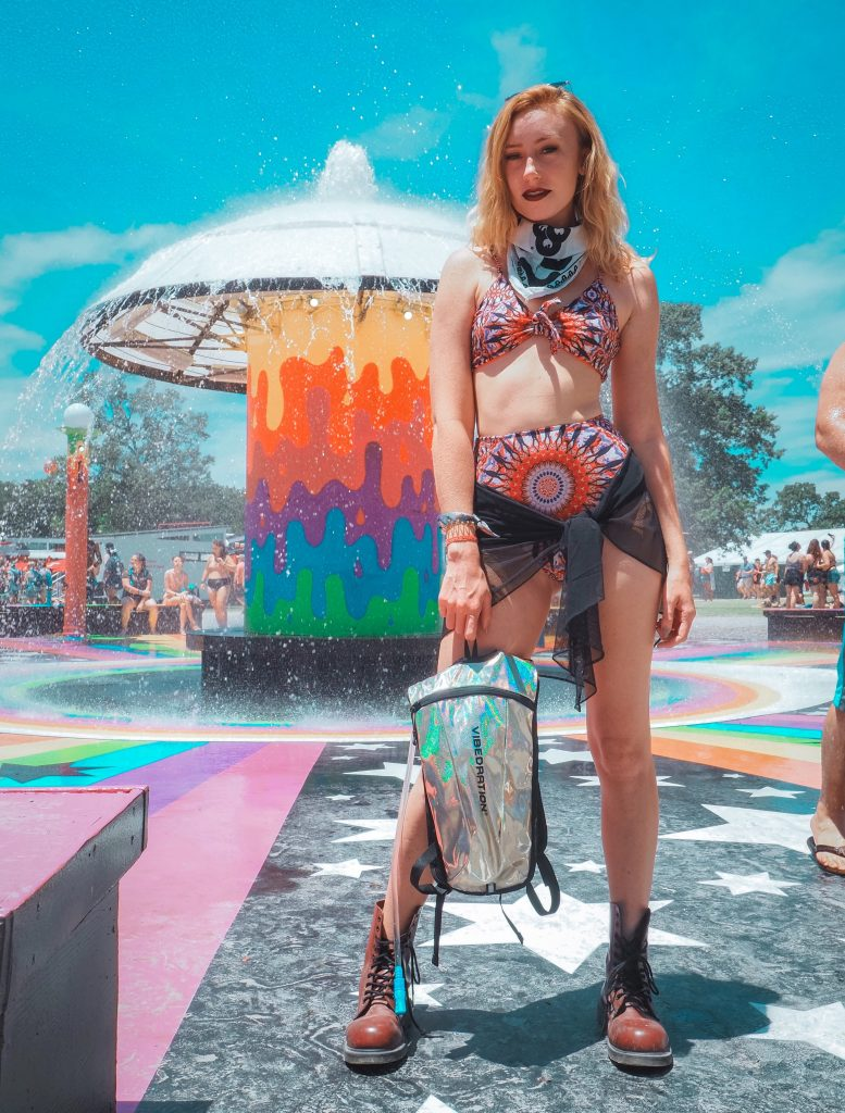 fountain, festival, girl