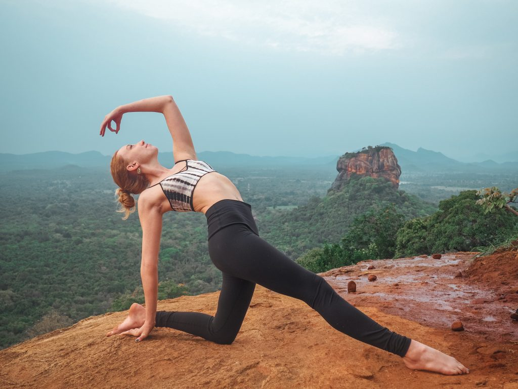 mountain view, yoga, girl